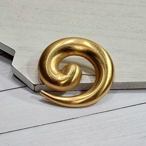 Vintage Monet Gold Modernist Swirl Brooch